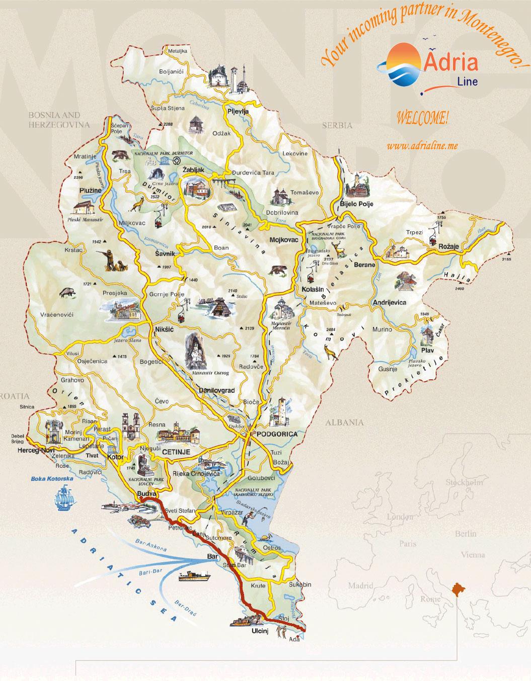 susanj mapa OLD BAR & ULCINJ   Montenegro Travel Agency Adria Line susanj mapa