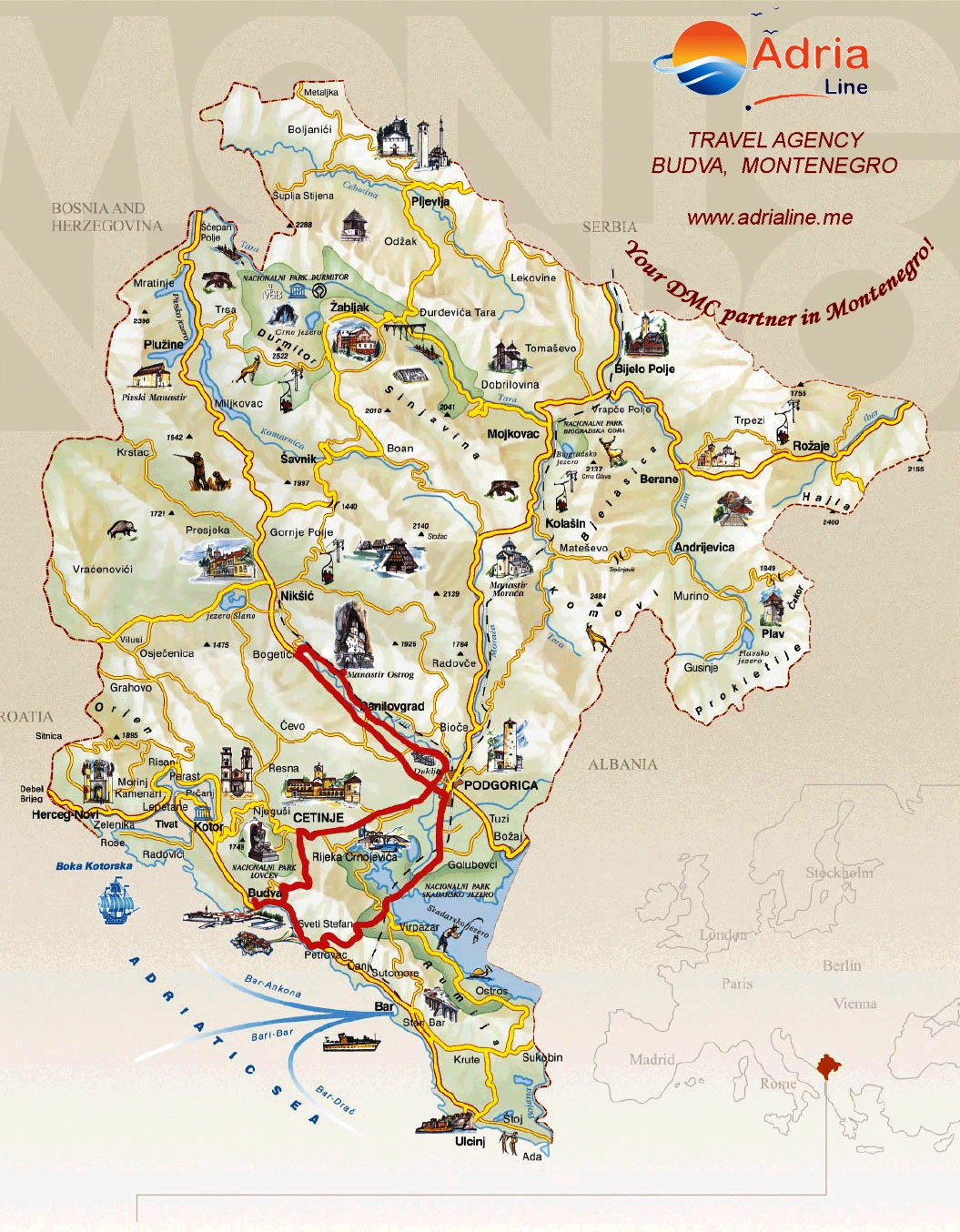 ostrog mapa EXCURSION OSTROG MONASTERY   Montenegro Travel Agency Adria Line ostrog mapa