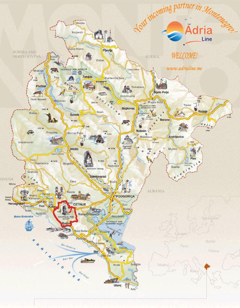 Map of excursion Montenegro Tour