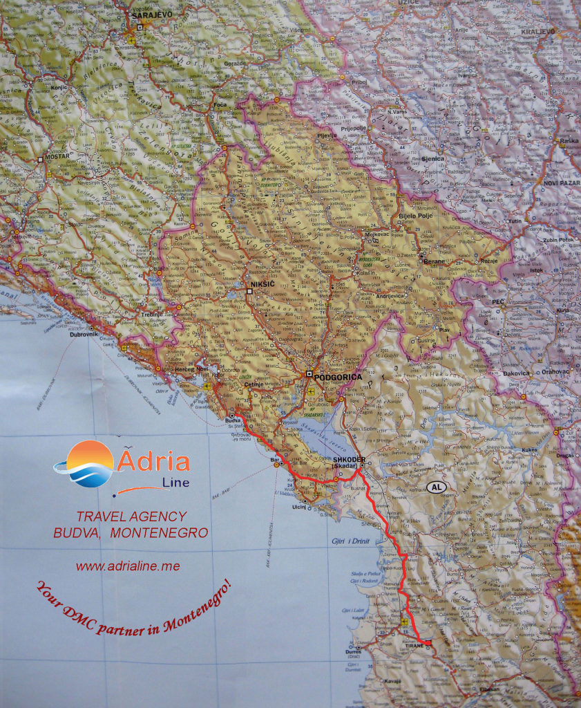 Map of excursion Albania