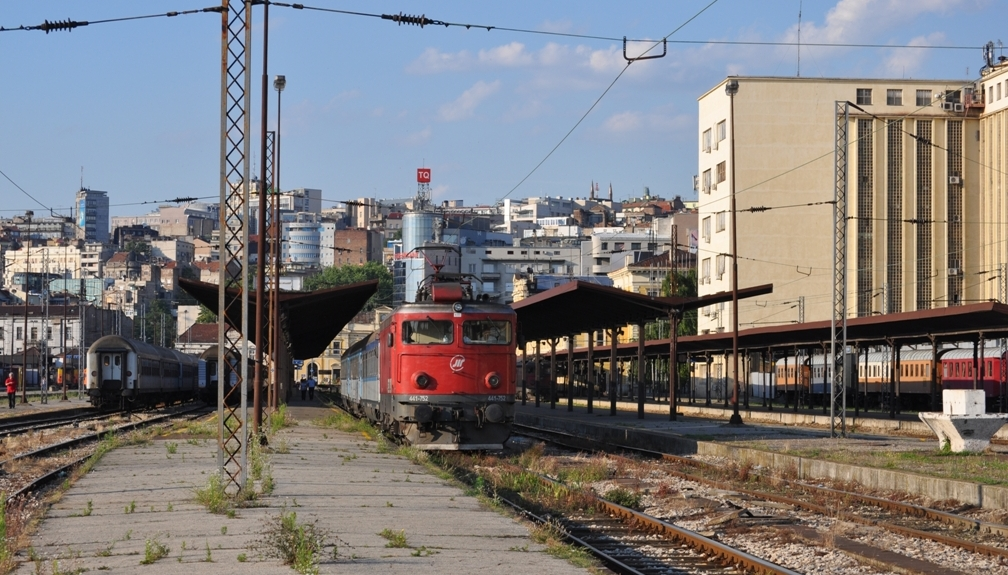 The train leaves the Belgrade railway station