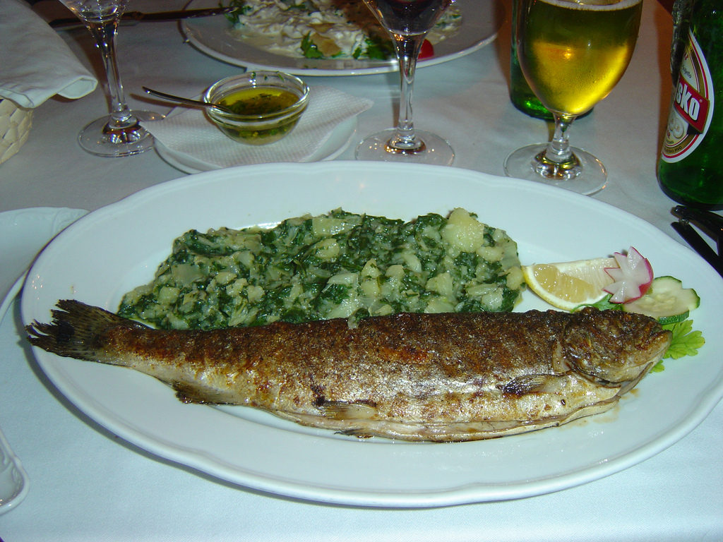 Grilled fish with Swiss chard
