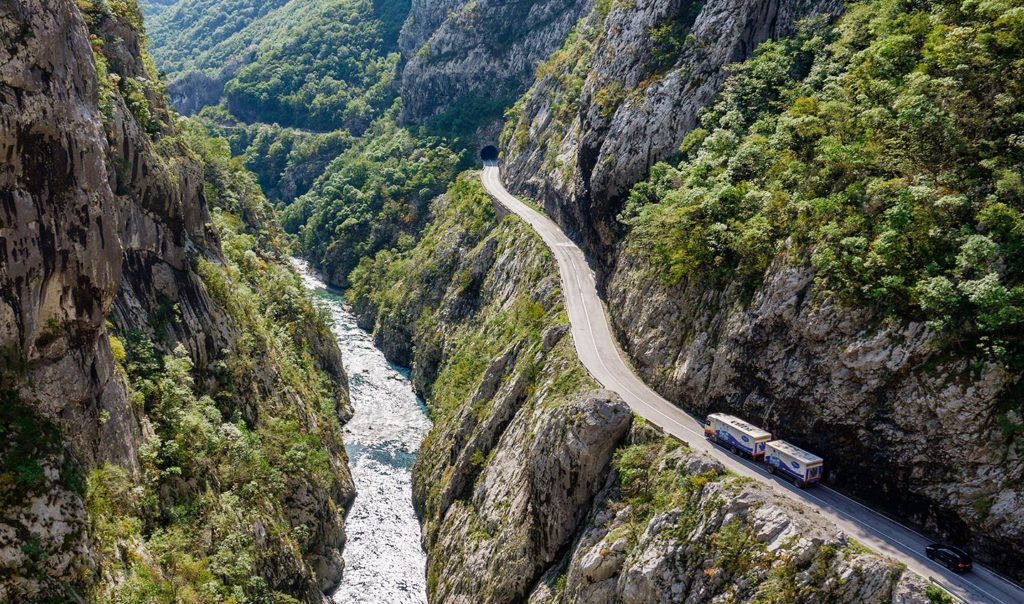 The road through the Canyon of Moraca River