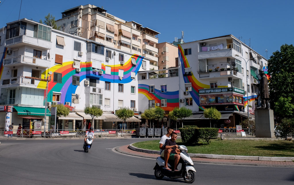 Colorful buildings in Tirana