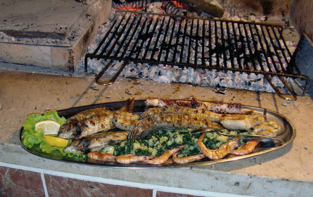 Grilled fish prepared on a barbecue