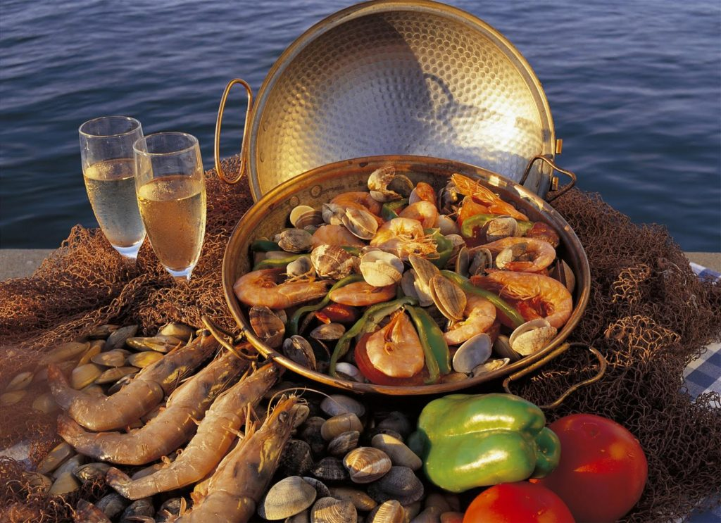 The seafood and shellfish with maritime herbs