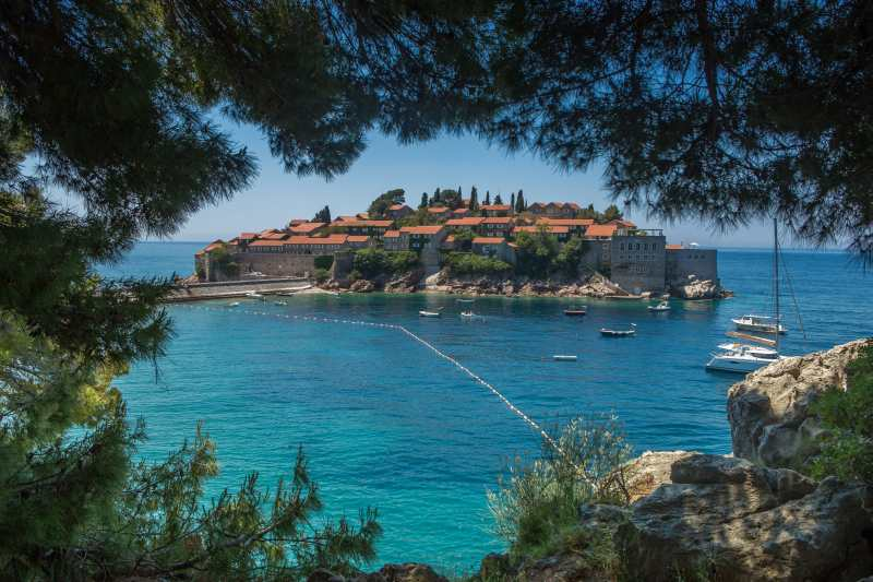 View on Sveti Stefan Island