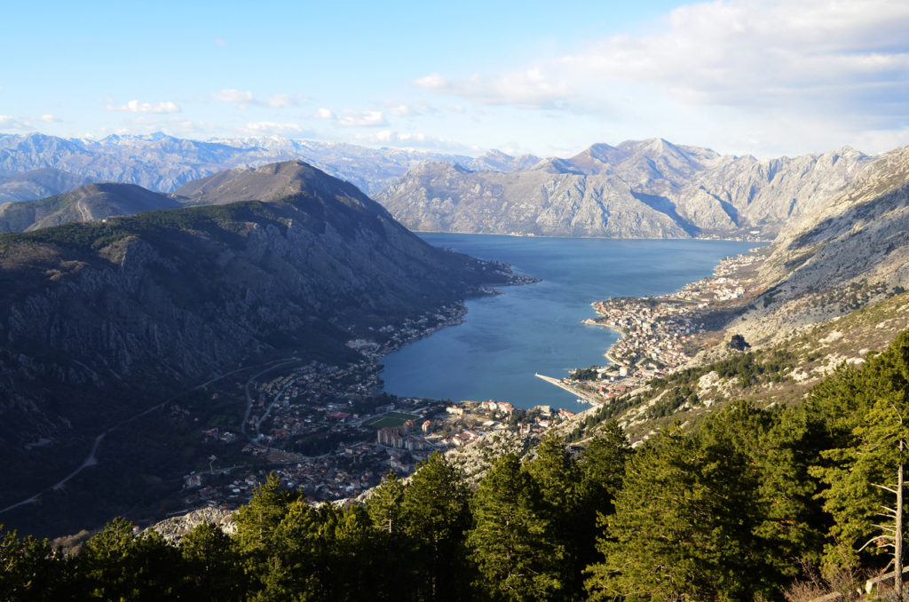 panoramic view on bay of kotor