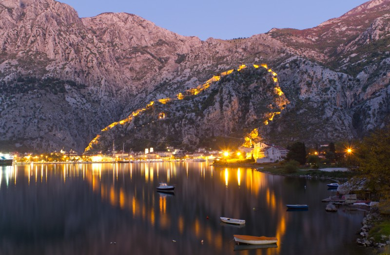 illuminated walls in Kotor