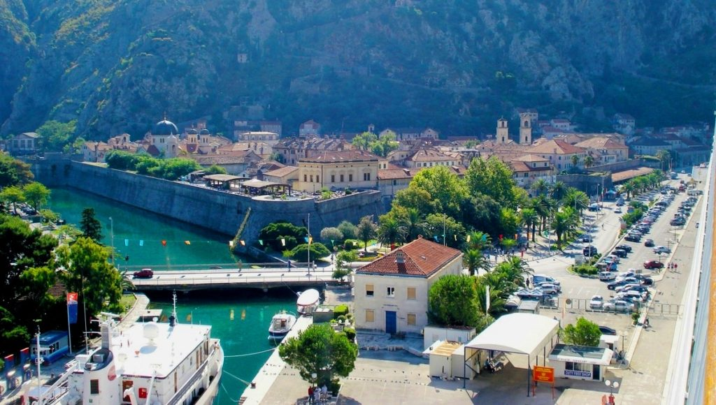 Kotor view of old town from cruise ship