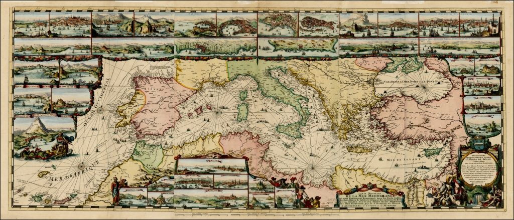 The old map of the Mediterranean