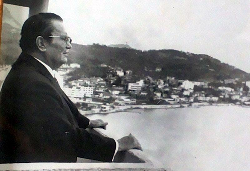 "Tito on the balcony of the villa ""Galeb"" Igalo"
