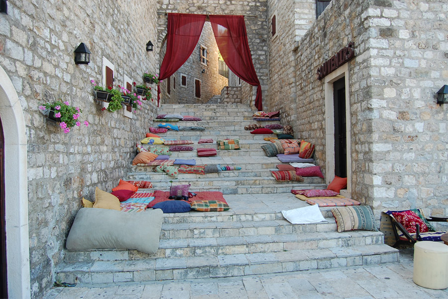 Ulcinj - Pillows on the stairs in the Old Town