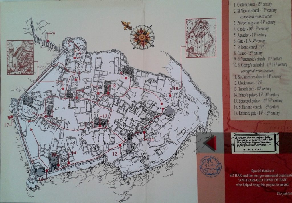 Old Town of Bar - Map