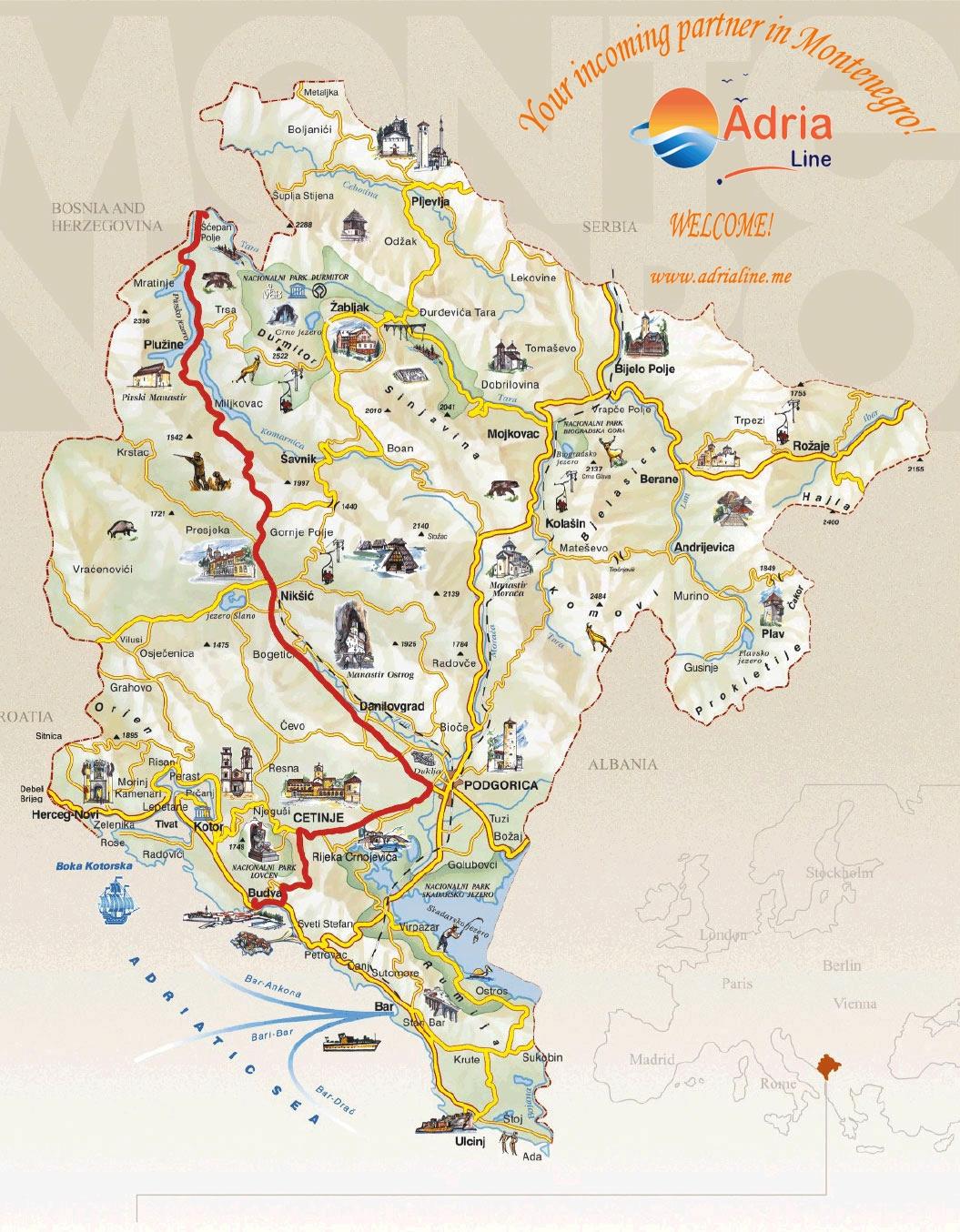 Map of excursion River Tara Rafting