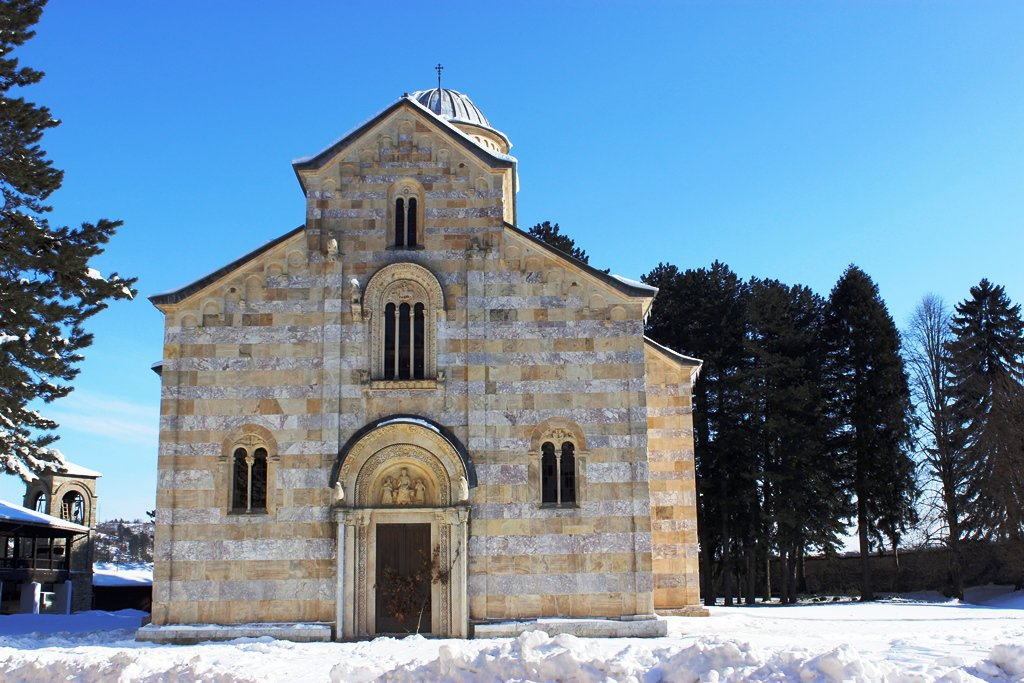 Decani church in the snowy surroundings
