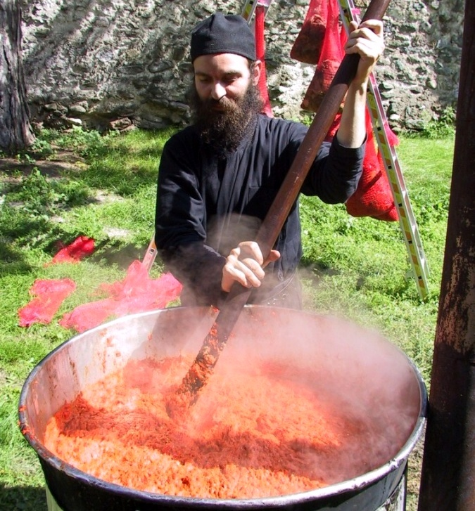 Monks prepare Ajvar - Decani Monastery