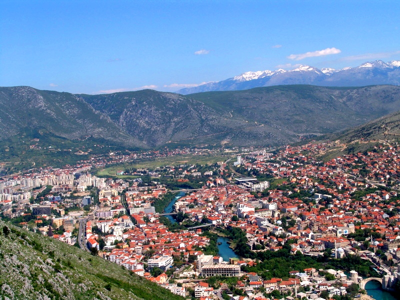 Mostar view from direction Stolac