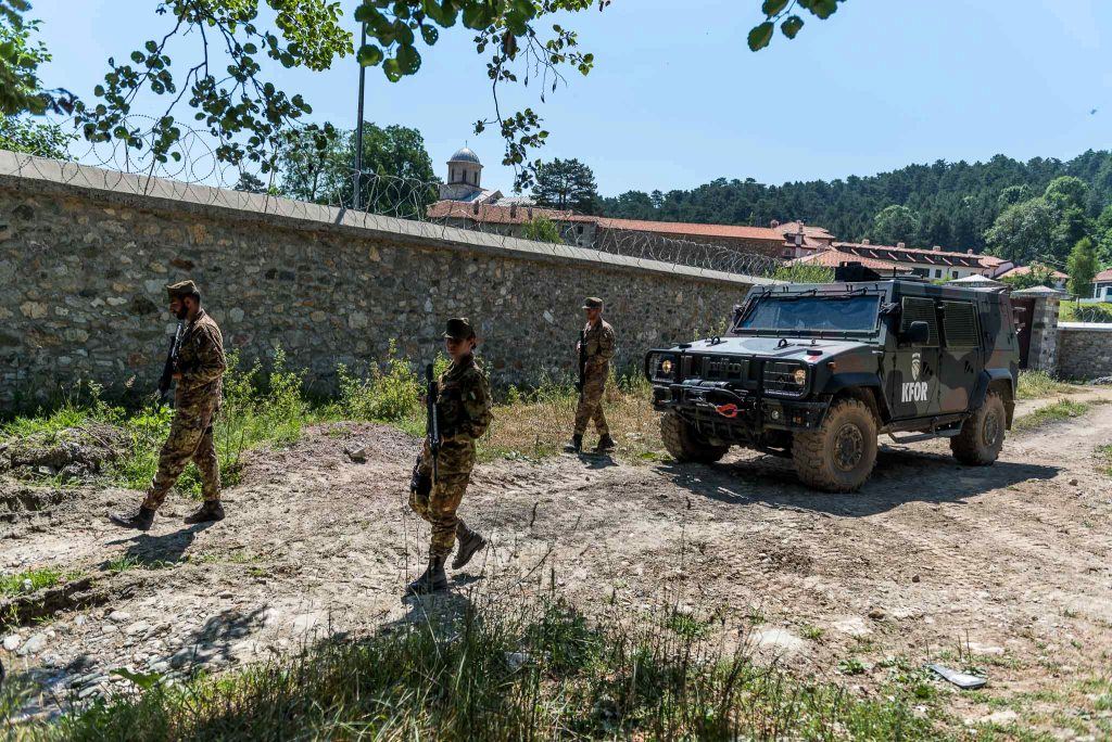 Patrol of the Italian military near the Decani monastery
