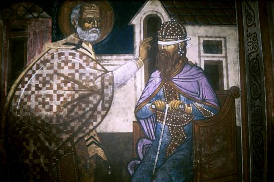 St. Nicholas returns eyesight to Stefan of Decani