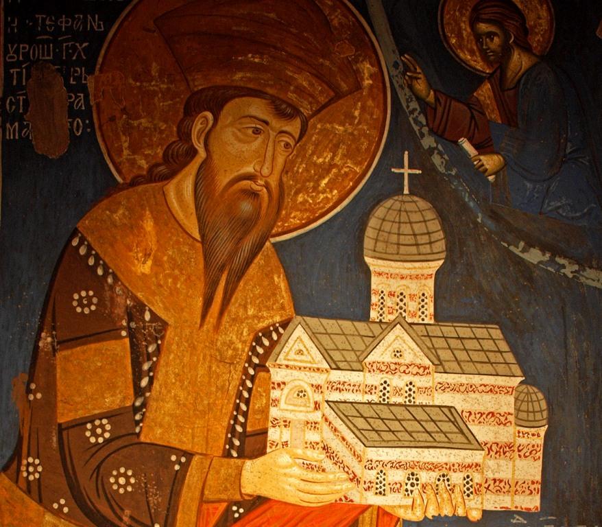 Stefan Uros III Decanski - Mural in Visoki Decani Monastery