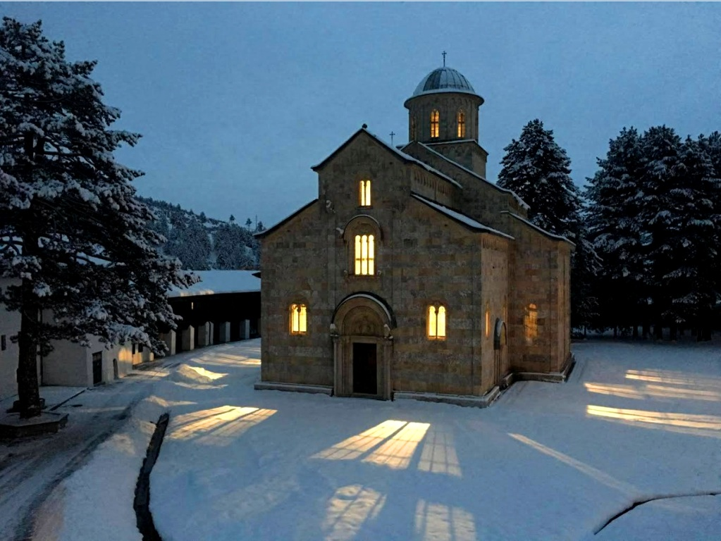 Winter evening at Decani Monastery