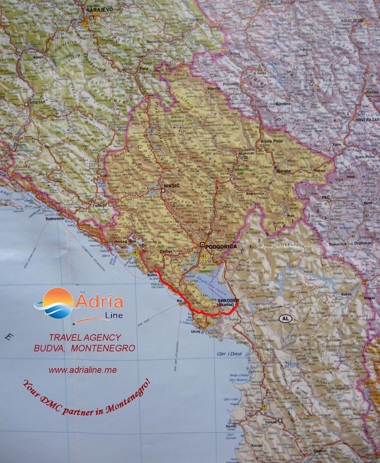 Map of Excursion Skadar - Albania
