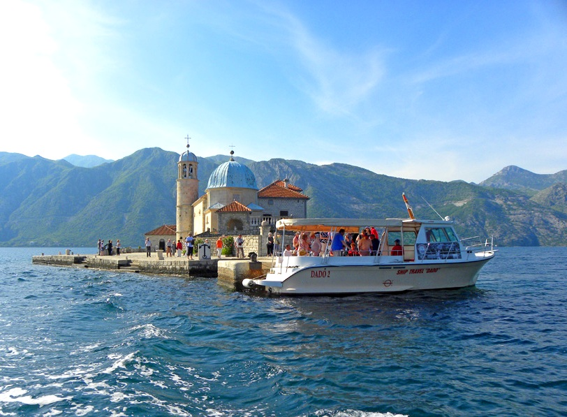 Boat at Our Lady of the Rocks in Perast