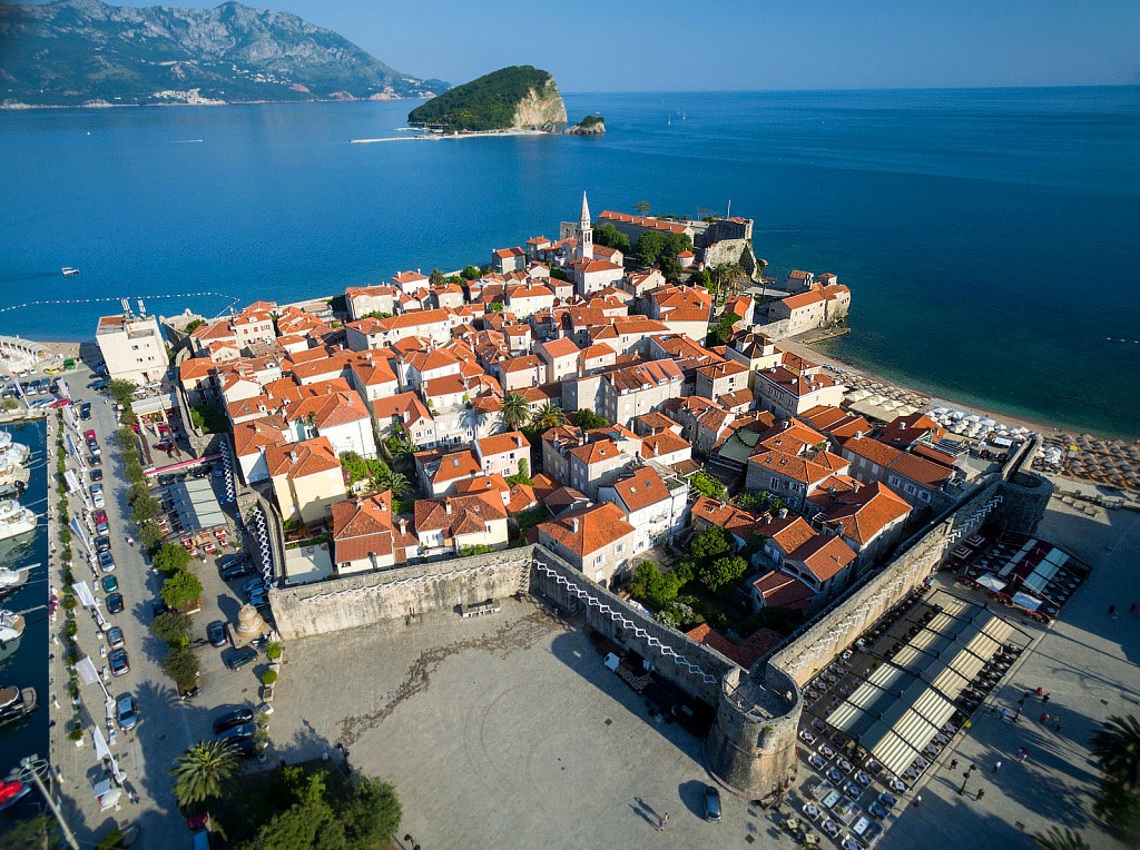 Aerial View of Old Town Budva