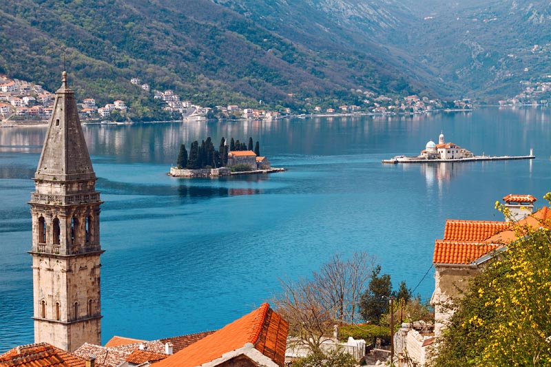 Perast with islets St. George and Our Lady of the Rocks