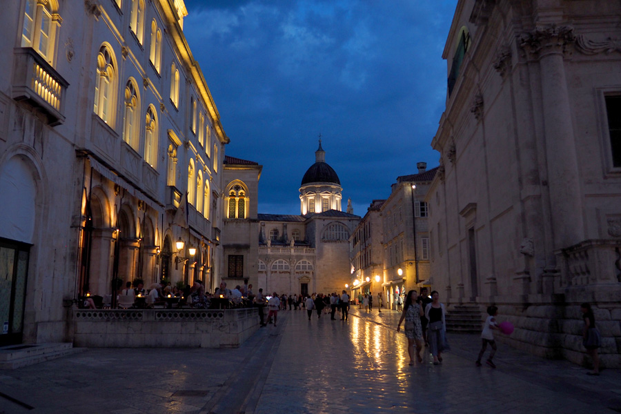 Dubrovnik Cathedral with Dome Illuminated