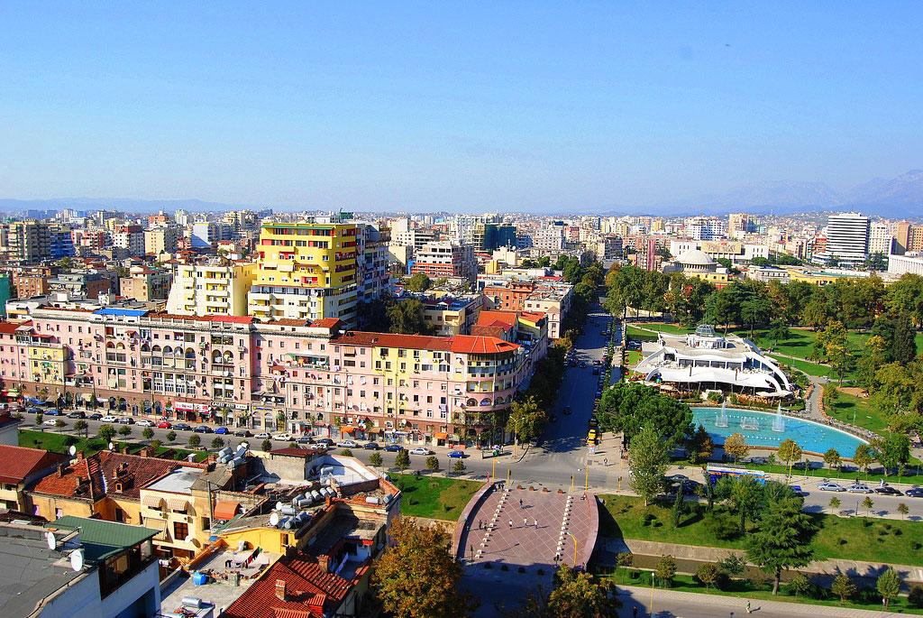 Vue de Tirana de Sky Tower