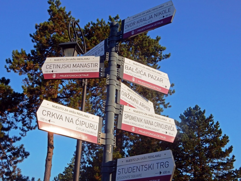 Cetinje - Signs for sightseeing in the city