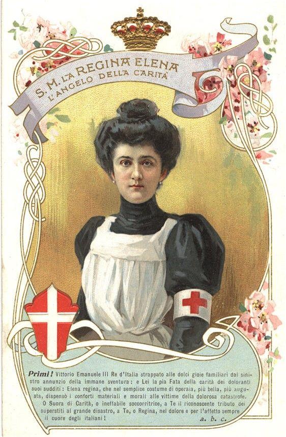 Queen Elena of Italy in nurse uniform help rescuers