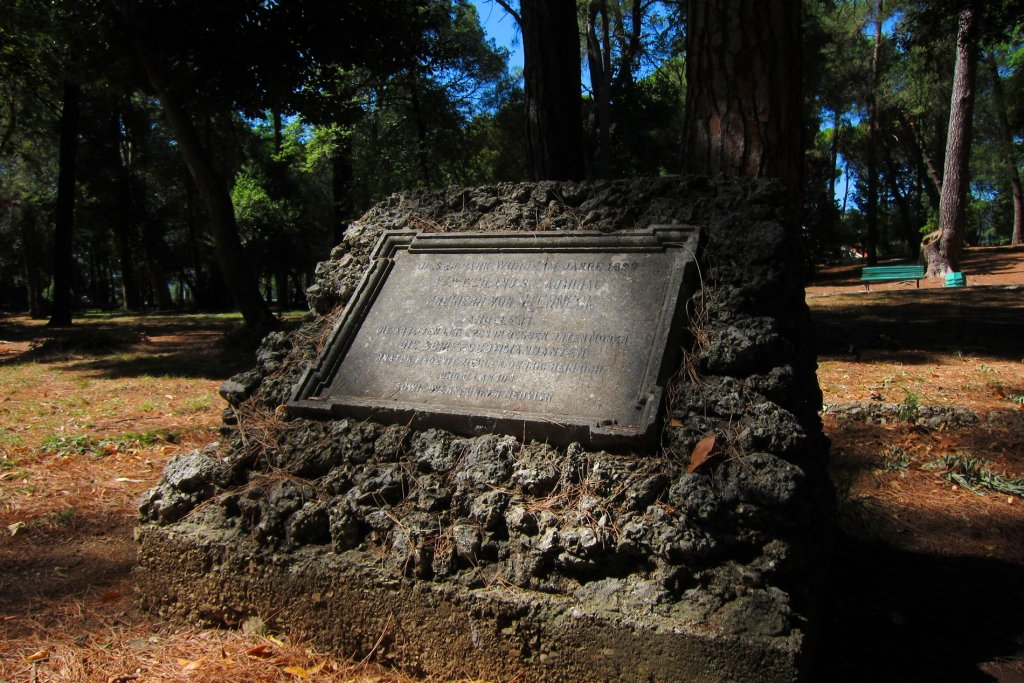 Tivat - Memorial plate at the park entrance