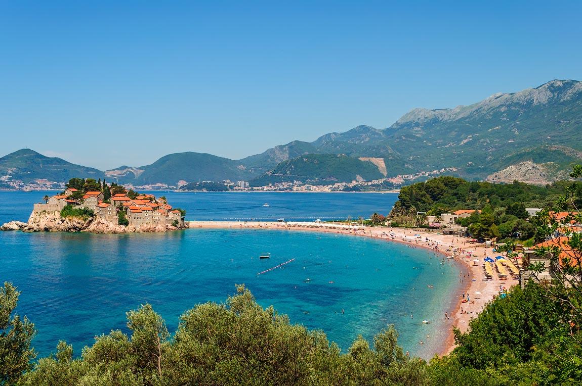 Public beach and Sveti Stefan Island